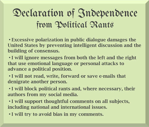 Declaration of Independence from Political Rants