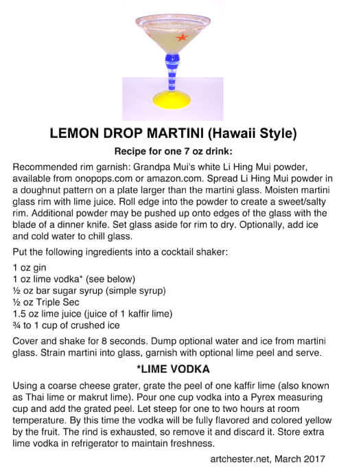 Recipe for lemon drop martini with kaffir lime vodka
