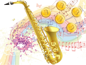 Bitcoin music pouring out of a saxophone