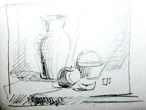 Набросок картины натюрморт