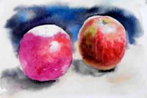 Яблуко ліворуч намалюйте світло-рожевим
