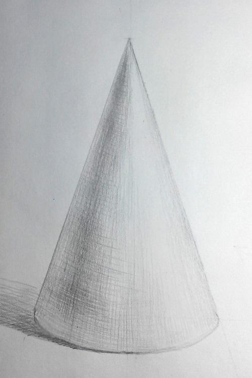 Изображение падающей тени от конуса