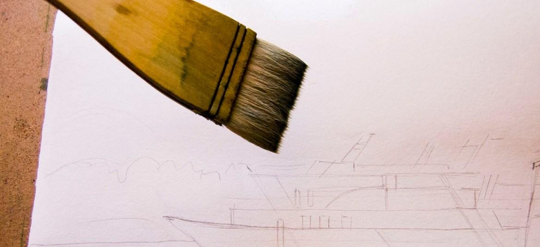 Змочуємо папір широким пензлем для малювання аквареллю по-мокрому