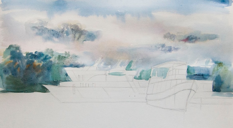 Малювання заднього плану аквареллю по-мокрому