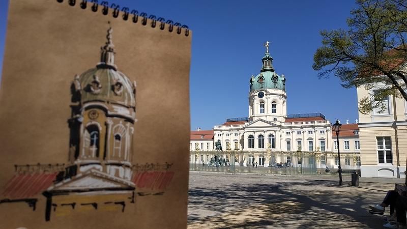 Берлин, дворец Шарлоттенбург. Быстрый скетч. Крафтовая бумага, маркеры