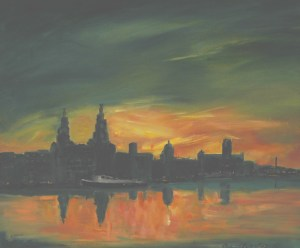 Early morning, sunrise, over Liverpool waterfront