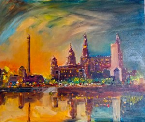 beginners art class, liverpool and merseyside. one of my paintings of the liver buildings, at night
