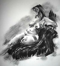 charcoal study of nude, in the life drawing class, liverpool, lydiate and southport, merseyside