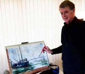 beginners watercolour demonstration, by artist, roger jenkins, merseyside