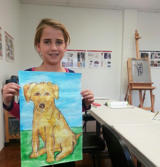 Dog. Watercolor on paper by a 7-year-old student. - Art ...