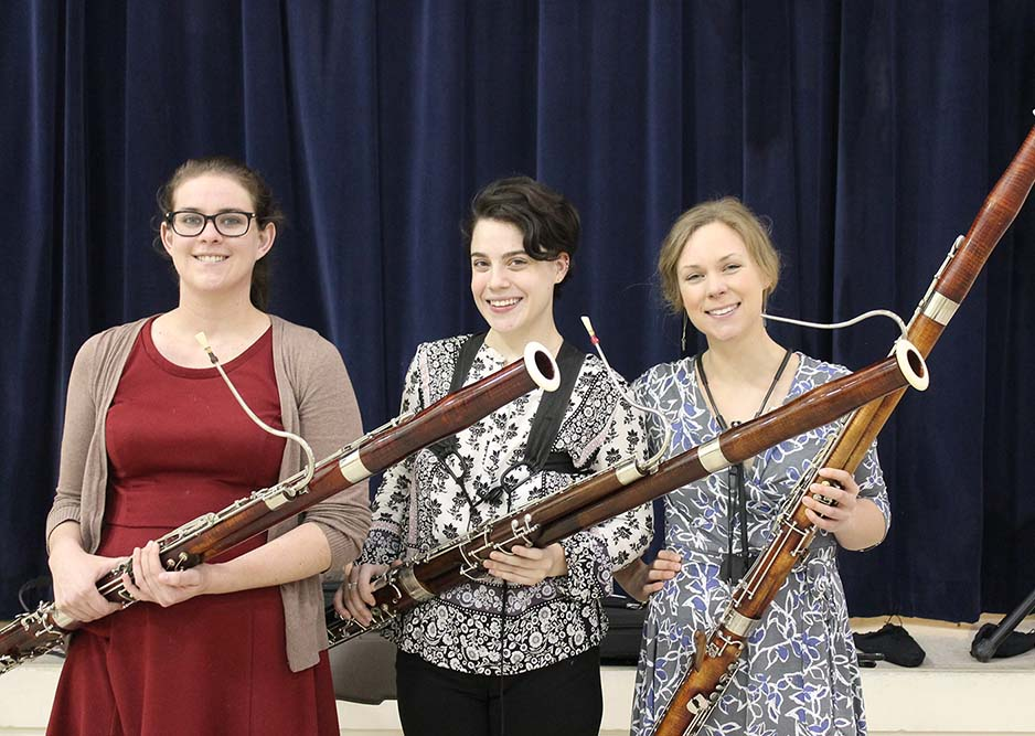 The Bombastic Bassoons (bassoon trio left to right: Carly Gomez, Marisa Esposito, Arleigh Savage)