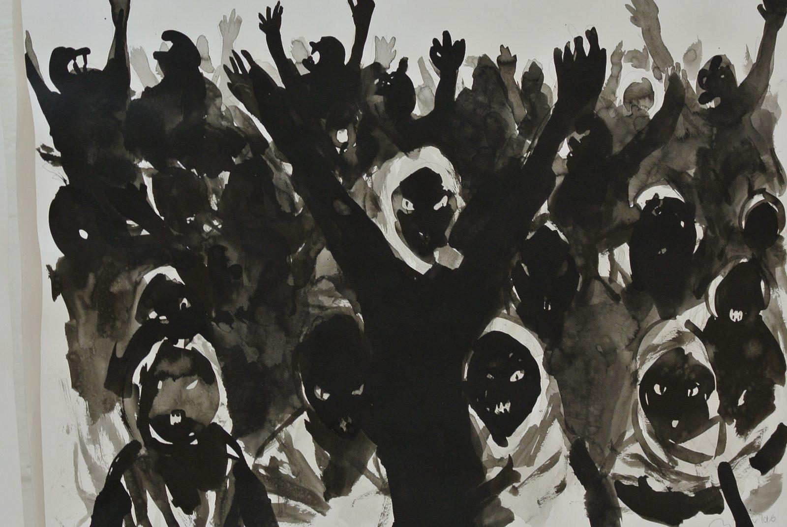 Didier Viodé - Dessin de la série Migrants. Encre de chine sur papier. Copyright photo : Claire Nini