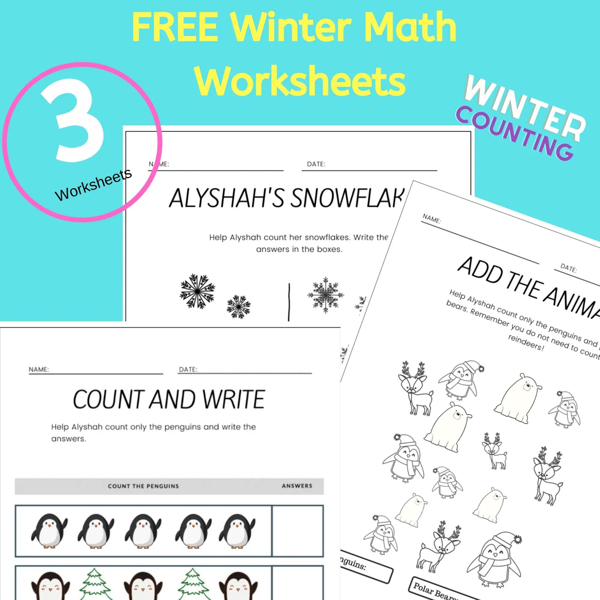 Free Printable Winter Math Worksheets For Kindergarten