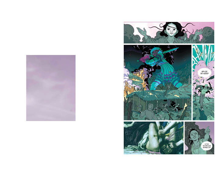 Eight spread of Inspirations. Left, a panel of pink clouds. Right a comic page with pink clouds and a painting edited in.
