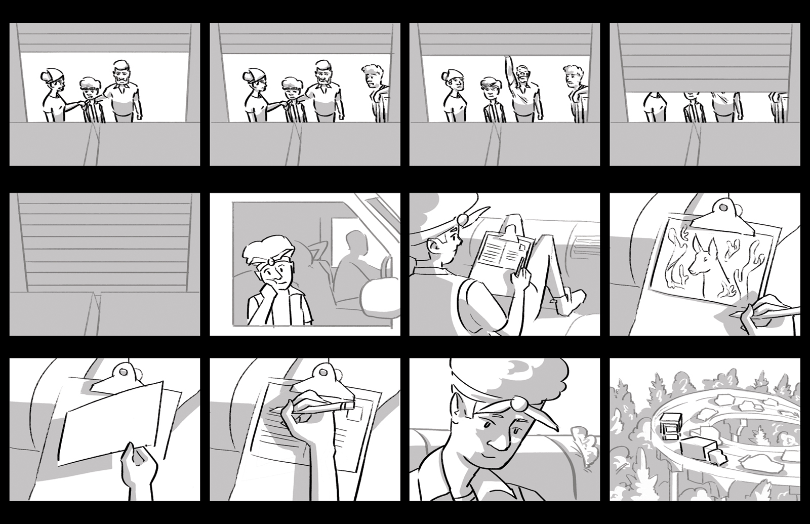 Fifteenth storyboard. Denny's family are ready to move. Denny writes a postcard to their friend with a drawing of the deer.