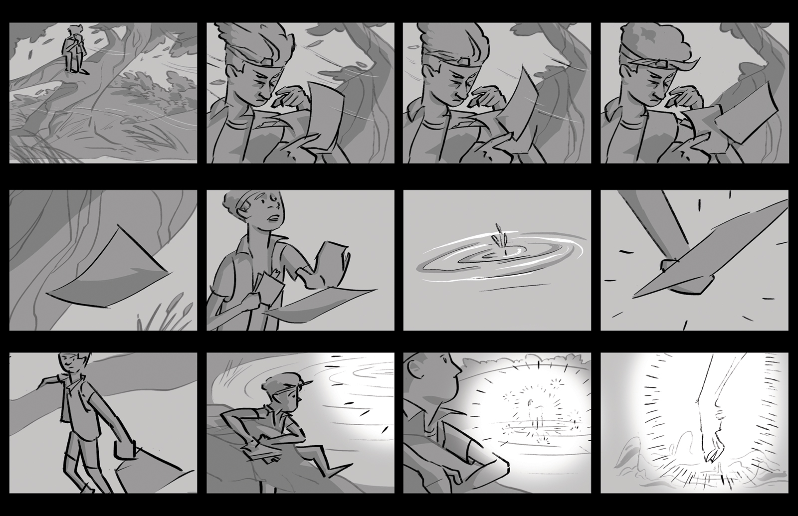 Eighth storyboard. Denny opens the letter by a pond. The wind blows it down. There's a splash and a mysterious light.