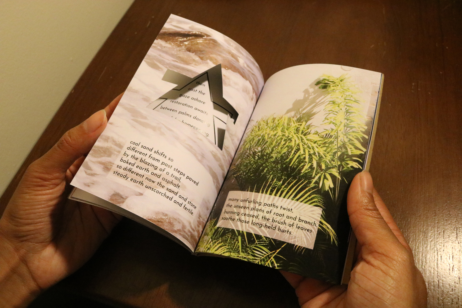 The seventh spread of Restoration. The left shows the previous page through a cutout. Stanzas are overlaid an image of ferns.