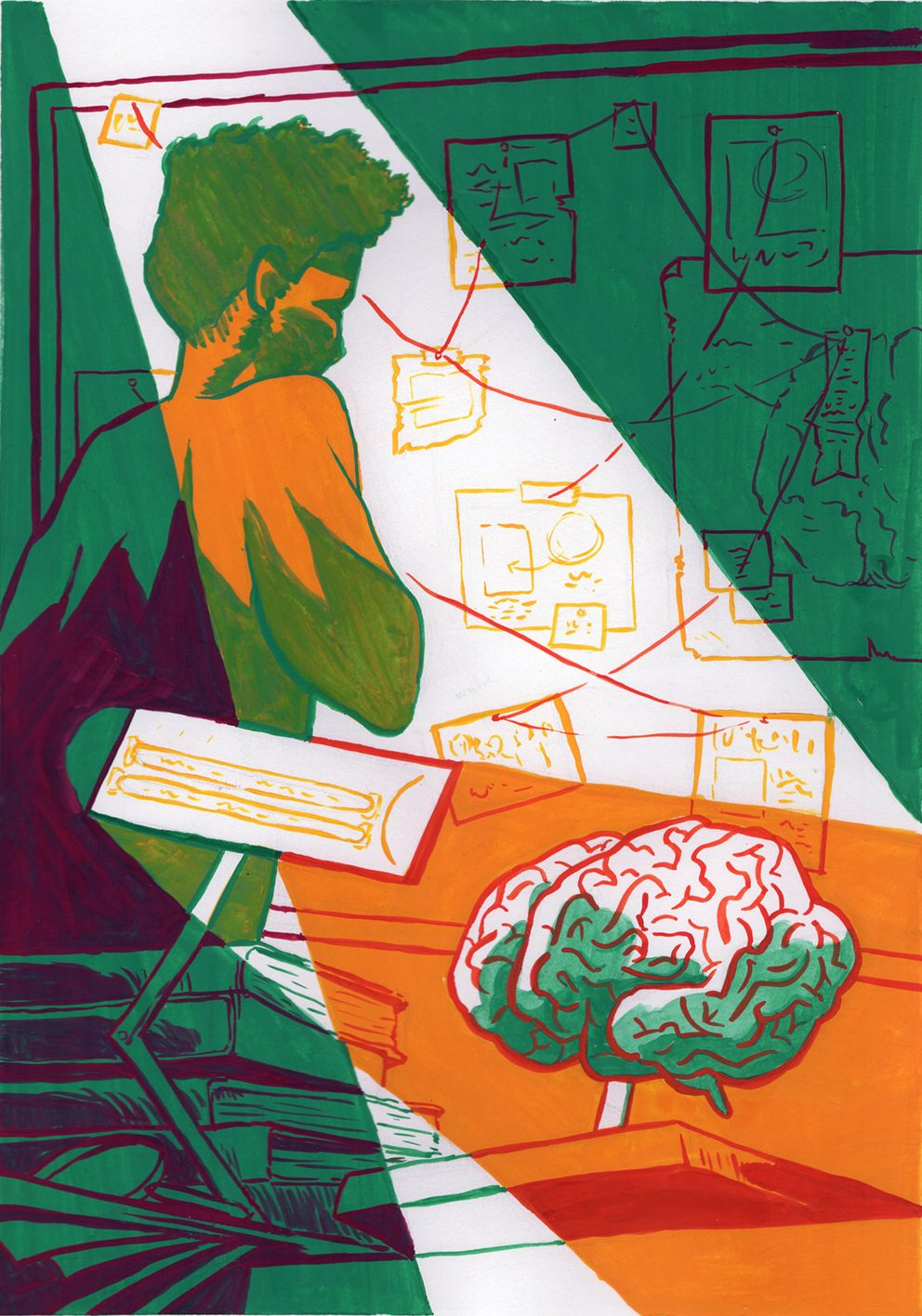 Gouache editorial illustration. An investigator looks at a pinboard. The foreground spotlights a model of the brain.