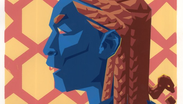 A gorgon in profile depicted in a triadic color scheme. Her hair snakes are braided into cornrows.