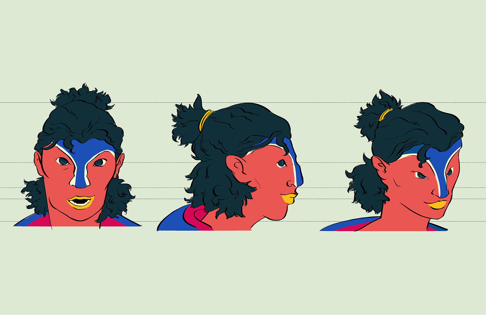 Marraquin character design. The character's face in profile, facing forward, and in 3/4 view. Her hair is pulled back and her forehead and nosebridge are naturally colored blue.