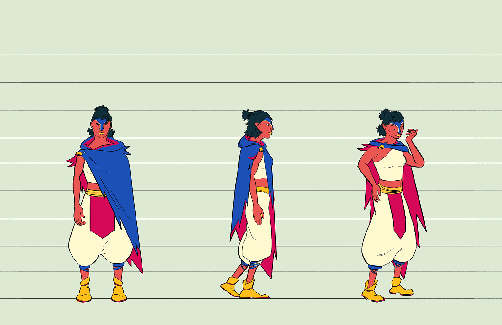 Marraquin character design. She is a small slender woman wearing a croptop, baggy pants and a cloak. Her features and cloak are inspired by hawks.