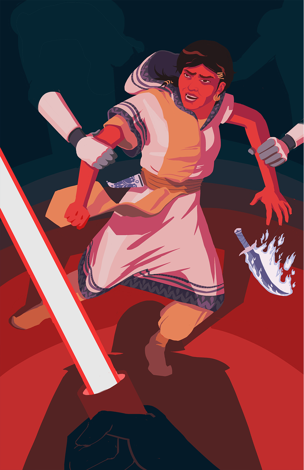 A Star Wars Leia redesign inspired by Medea of Colchis from Jason and the Argonauts (1963). Leia's clothing resembles Carrie Fisher's iconic white dress while including patterned elements from Urartan/Colchis' historical art. Leia is being detained, Vader's lightsaber and shadow are in the foreground. Stormtroopers emerge from the shadows to grab her arms.