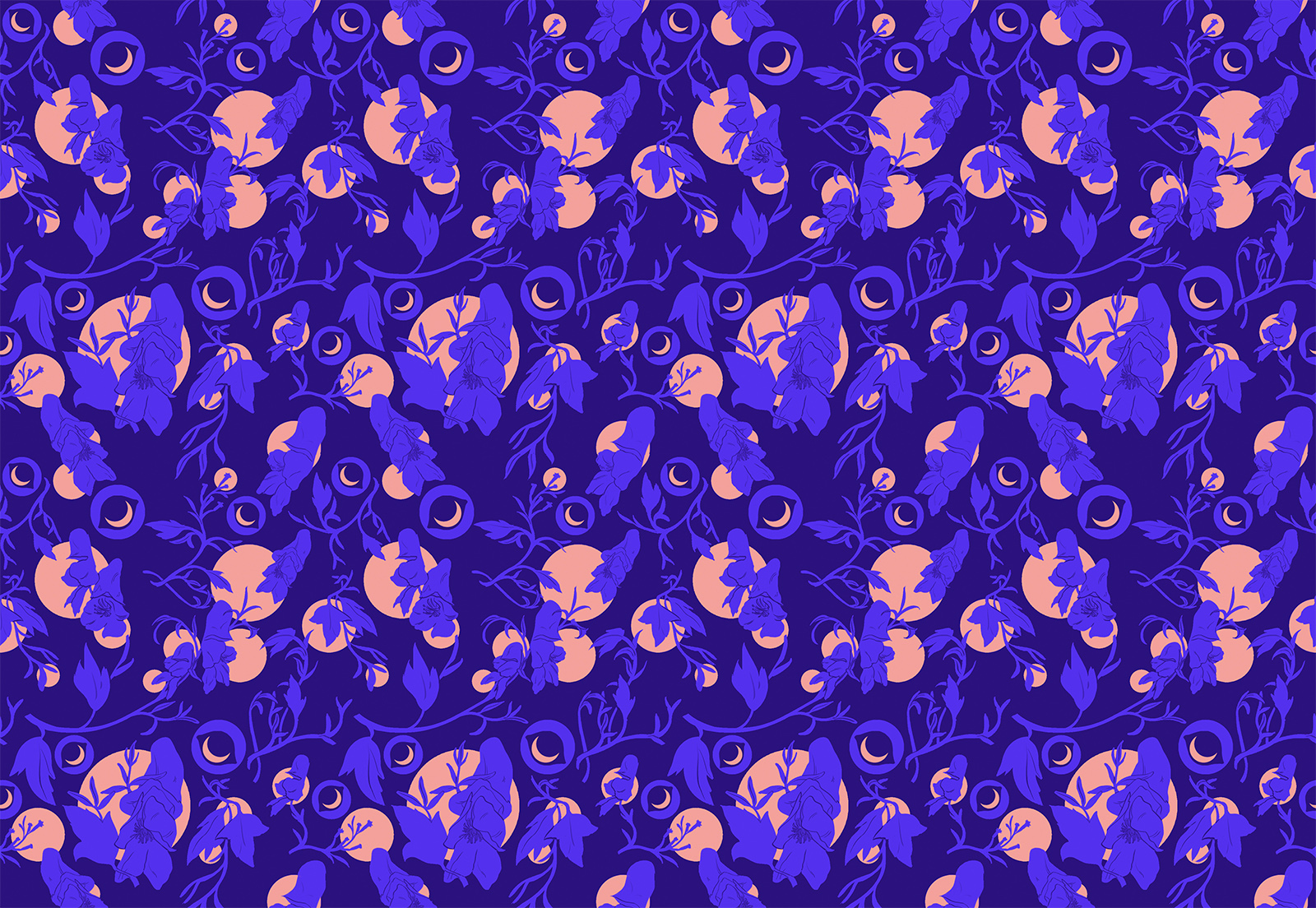 Werewolf card backing pattern. A repeat pattern composed of wolf eyes, moons, and wolfsbane flowers and leaves.