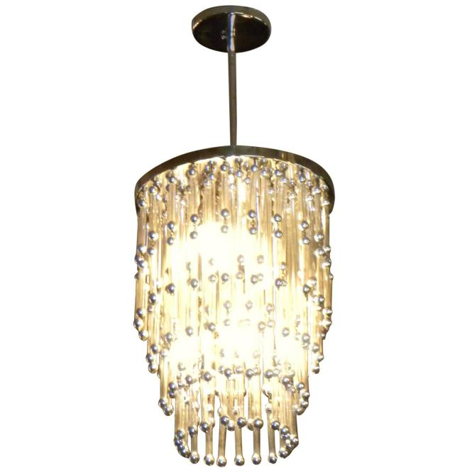 Unusual Art Deco Modern Chandelier With Silver