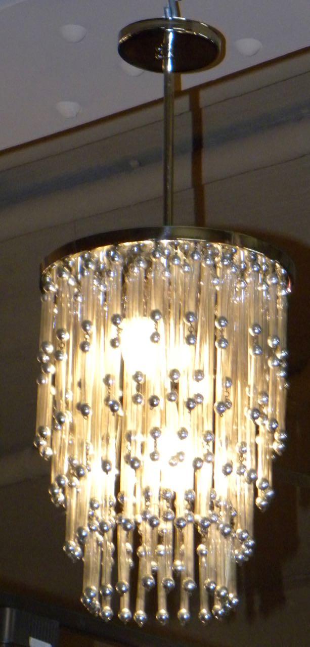 Unusual Art Deco Modern Chandelier With Silver Balls