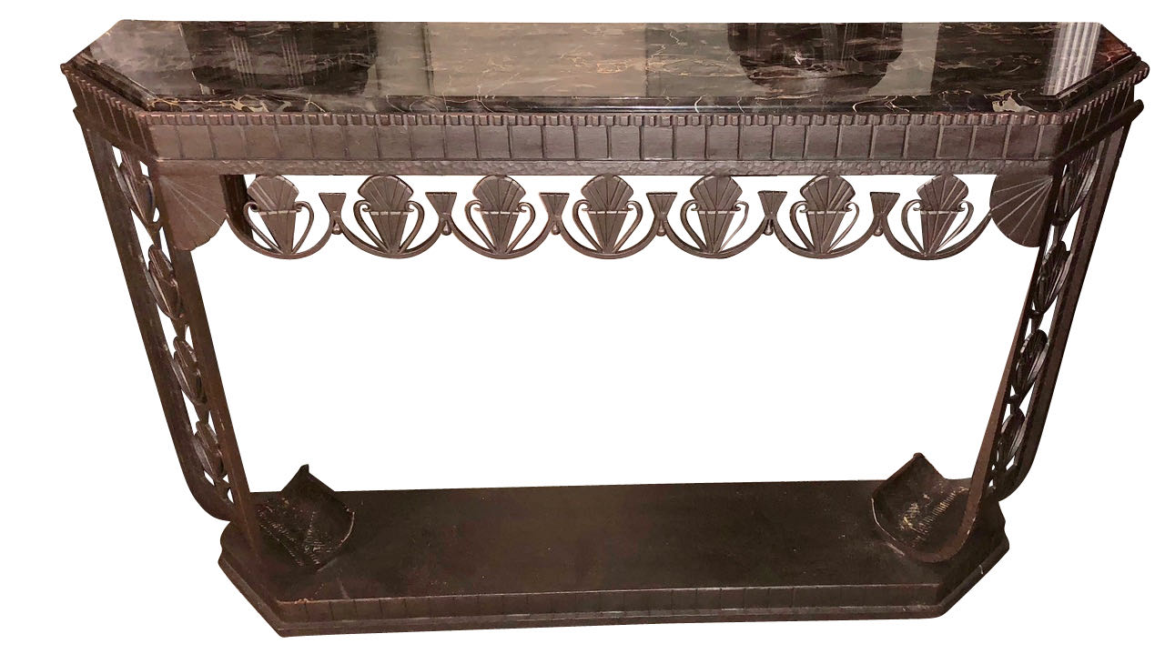 art deco grand iron and marble console