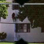 Bottle Rocket (1996) | Exiting window via rope made of sheets through tennis net | Binoculars shot | Director: Wes Anderson | Production Designer: David Wasco | Wes Anderson Production Design Porn