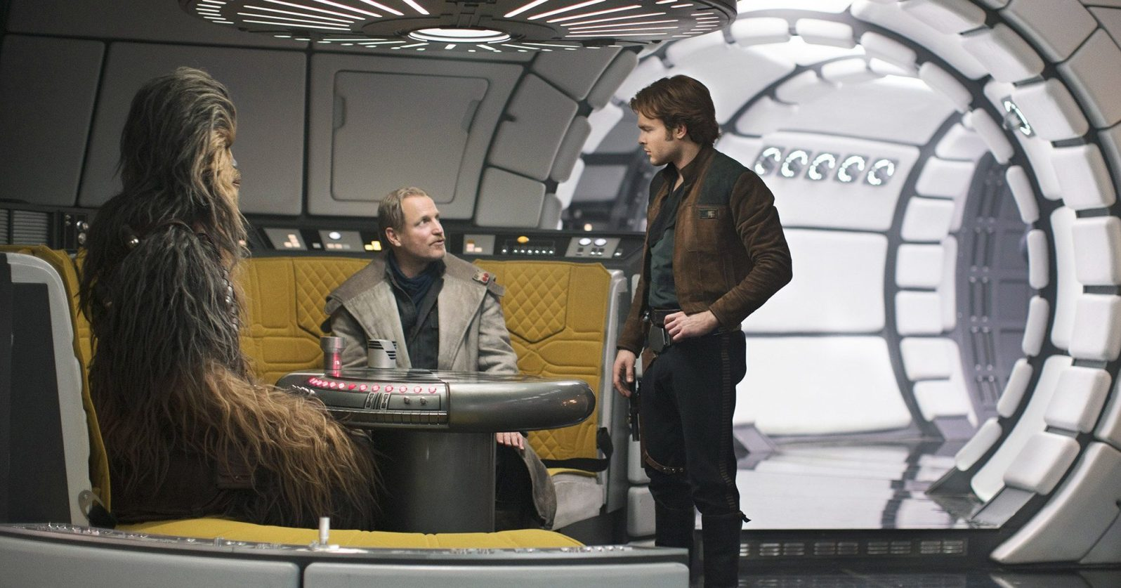 Solo: A Star Wars Story- 2018 Film- Space Ship corridor with yellow seating area in Millenium Falcon- Best Production Design of 2018