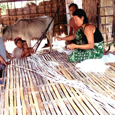 Rural Cambodia Family Weaving