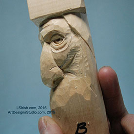 cutting the wrinkles of a wood spirit face