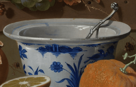 Abraham Mignon, Still Life with Fruit, Oysters, and a Porcelain Bowl, 1660-1679. Detail