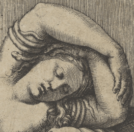 1515-1517, Marcantonio Raimondi, Cleopatra lying partly naked on a bed, Metropolitan Museum of Art, New York. Detail