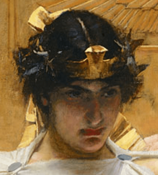 1888, John William Waterhouse, Cleopatra, Private Collection. Detail