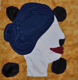"Blue Wig Betty, fabric, 12""x12"", 2016"
