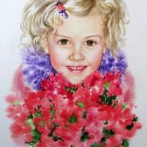 Portrét dievčaťa, 45x30 cm, akvarel