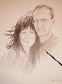 Portrait of the Couple, 60x40 cm, pencil drawing