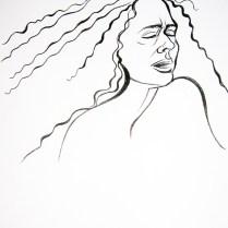Ika Krajcova' s Portrait, 30x20 cm, coal drawing