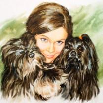 Portrait with Dogs, 50x70 cm, watercolor