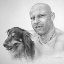 Portrait of the Man with a Dog, 40x50 cm, pencil drawing