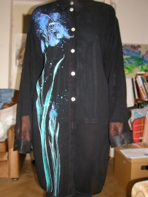 Black long shirt / dress with Iris flowers, chiffon