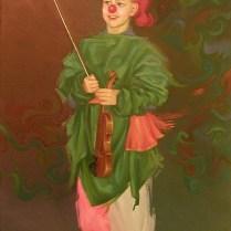 Portrait of child in a costume, 50x30 cm, oil, canvas