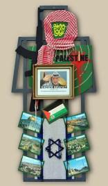2. terč: 02.04.1989 YASSER ARAFAT / PALESTÍNA 122,5x60x5, sololit na ráme, akryl, asambláž / ready-made Historické, vojenské a politické symboly Organizácie pre oslobodenie Palestíny a Izraelskej okupácie 2. ціль: 02.04.1989 ЯСІР АРАФАТ / ПАЛЕСТИНА 122,5x60x5, оргалит на рамі, акрил, aссамбляж / ready made Історичні, військові та політичні символи Організації визволення Палестини і ізраїльської окупації 2nd target: 02.04.1989 YASSER ARAFAT / PALESTINE 122,5x60x5, fibreboard on a frame, acrylic, assemblage / ready-made Historical, military and political symbols of the Palestian Liberation Organization and Israeli occupation