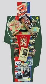 "Terč č.4. PRAŽSKÉ JARO ´68, ALEXANDER DUBČEK 122,5x60x5, sololit na ráme, akryl, asambláž / ready-made Obraz s originálom knihy Alexandra Dubčeka ""K otázkam obrodzovacieho procesu v KSČ"" Bratislava 1968 ako symbol spoločenských zmien, a Pražskej jari 68 v bývalej ČSSR Мішень №4. ПРАЗЬКА ВЕСНА '68, ОЛЕКСАНДР ДУБЧЕК 122,5x60x5, оргалит на рамі, акрил, aссамбляж / ready made Орігінал з книгою О. Дубчека ""Питання відроджуючого процесу в комуністичній партії"" Братислава 1968 рік, як символу соціально-політичних змін під час Празької весни 68 в Чехословаччині Target No.4: PRAGUE SPRING '68, ALEXANDER DUBČEK 122,5x60x5, fibreboard on frame, acrylic, assemblage / ready-made A picture with an original edition of Alexander Dubček's book ""Issues of the Regeneration Process in the Communist Party of Czechoslovakia"", Bratislava 1968, as a symbol of social changes and the Prague Spring of 1968 in the former Czechoslovakia"