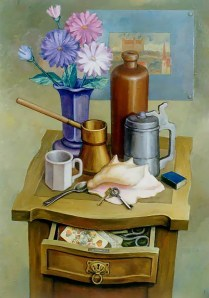 SOLD / The sunday coffee. 75x50, oil, canvas, ready-made