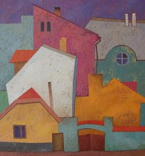SOLD / The old town. 60x55, oil, canvas on cardboard