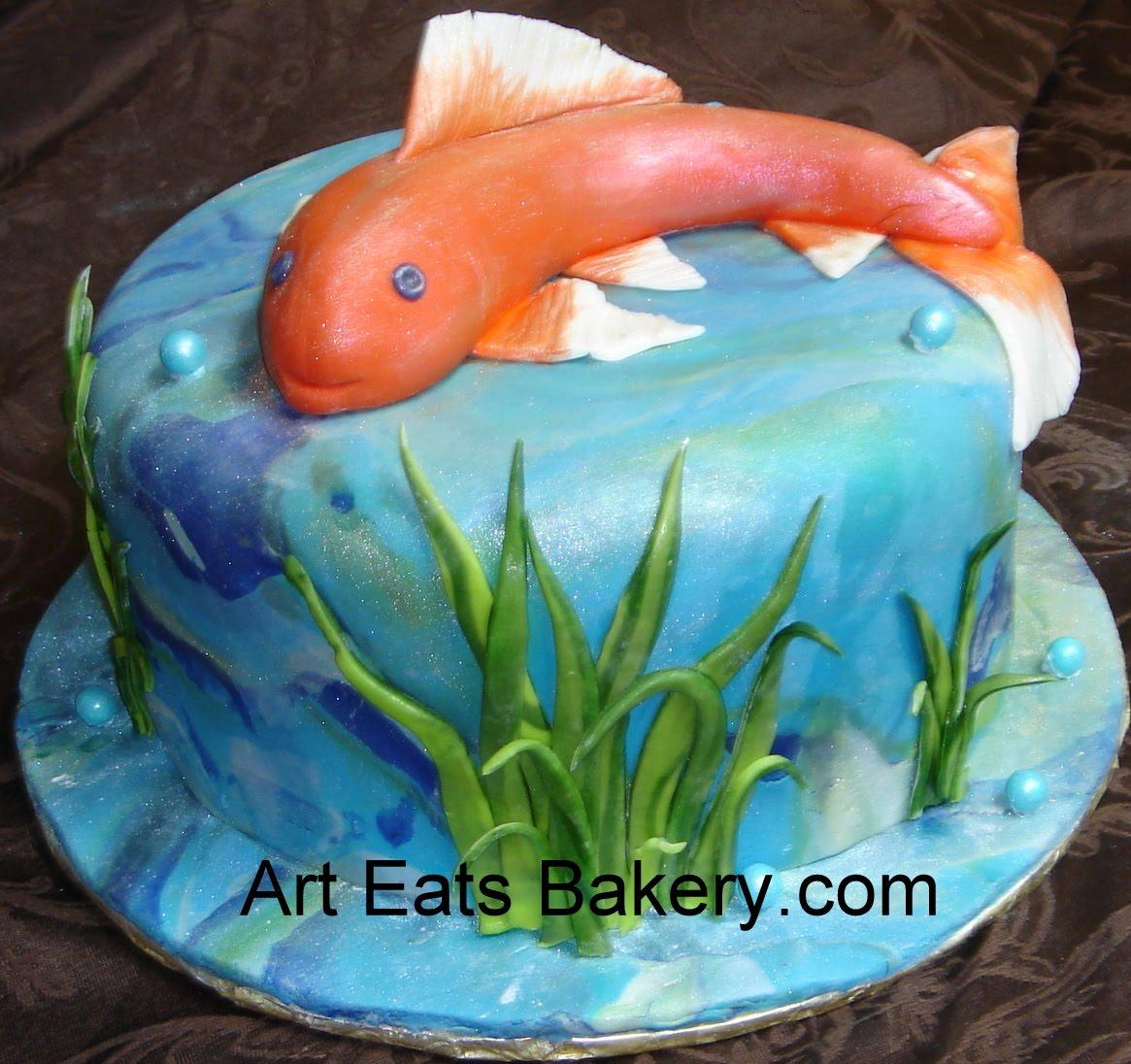 Gt Koi Pond Custom Unique Fondant Birthday Cake With Fish